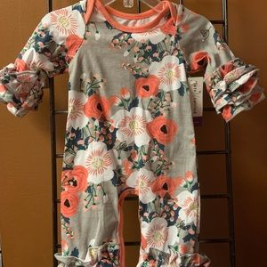 Gray & Coral floral icing romper